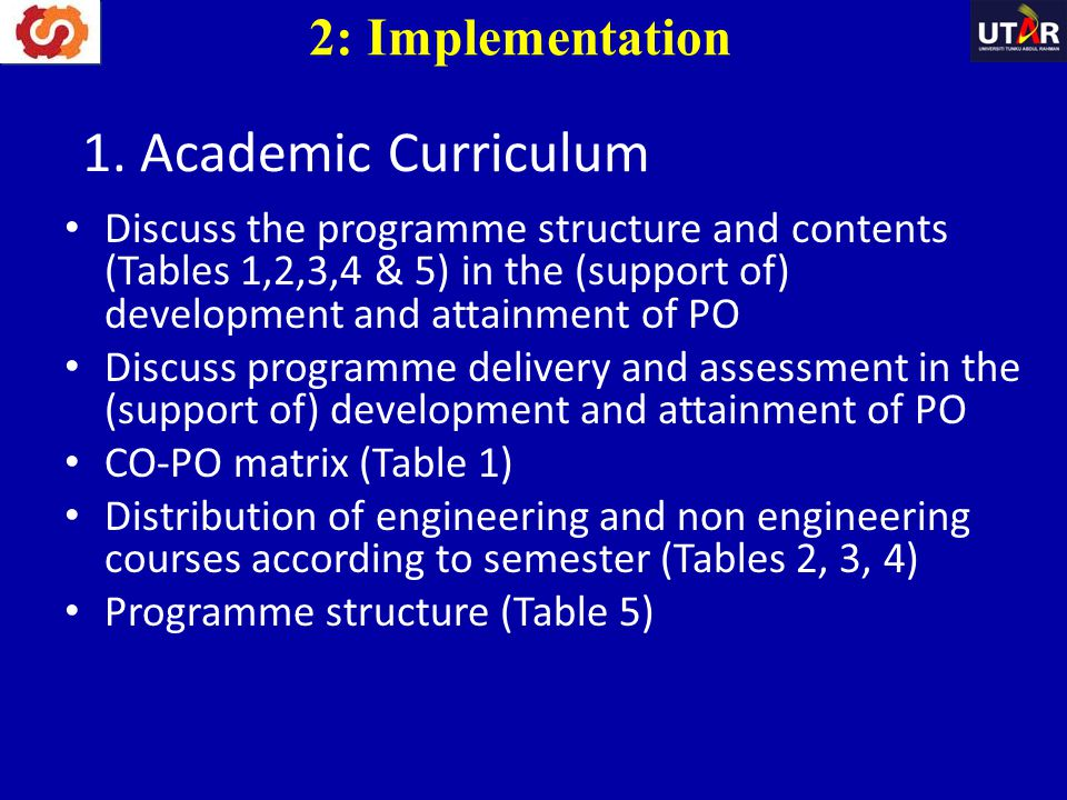 1. Academic Curriculum 2: Implementation