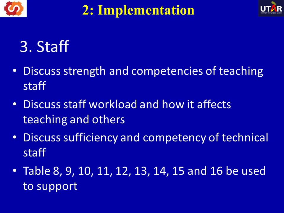 3. Staff 2: Implementation