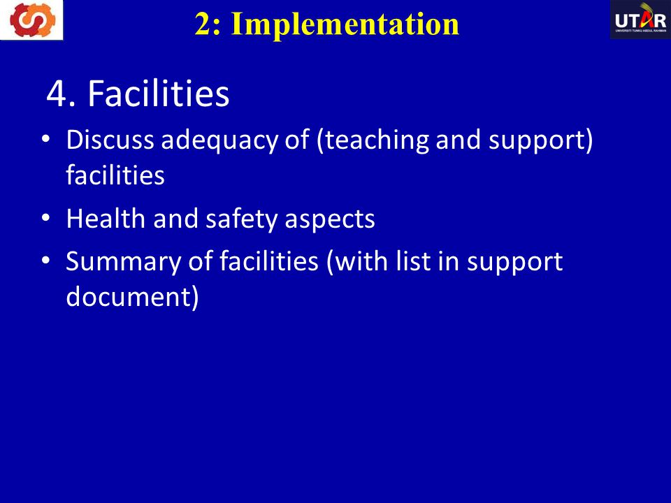 4. Facilities 2: Implementation