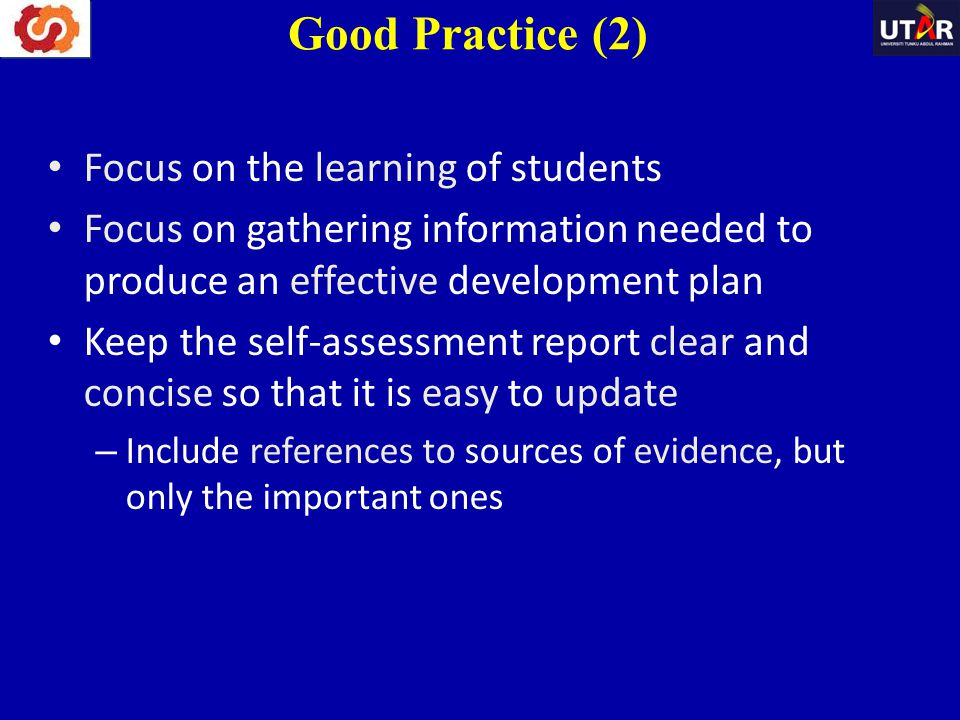 Good Practice (2) Focus on the learning of students