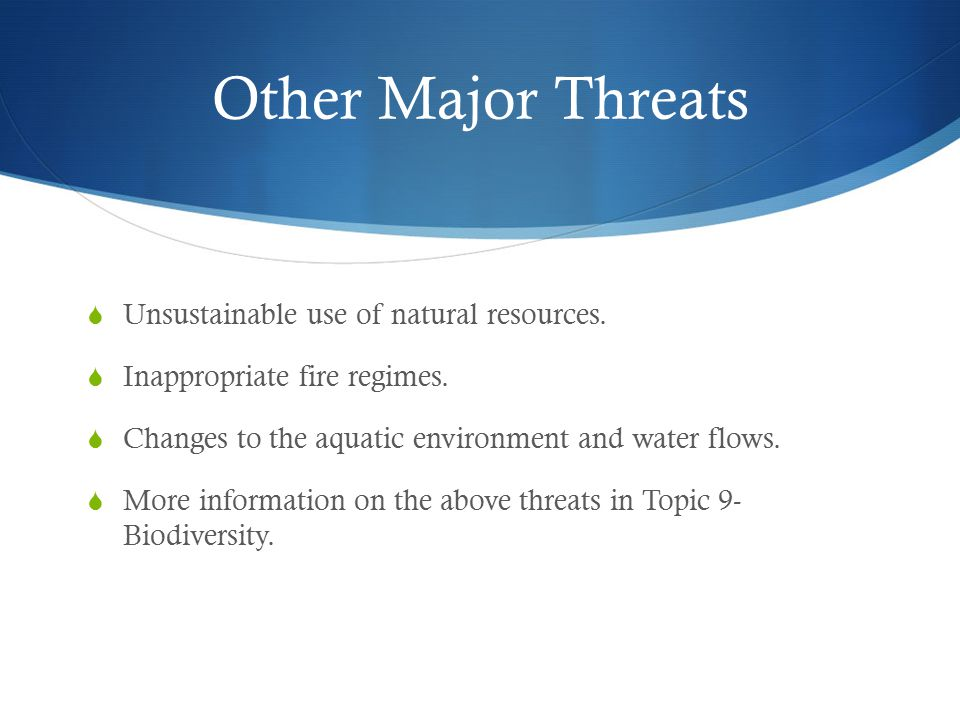 Other Major Threats Unsustainable use of natural resources.