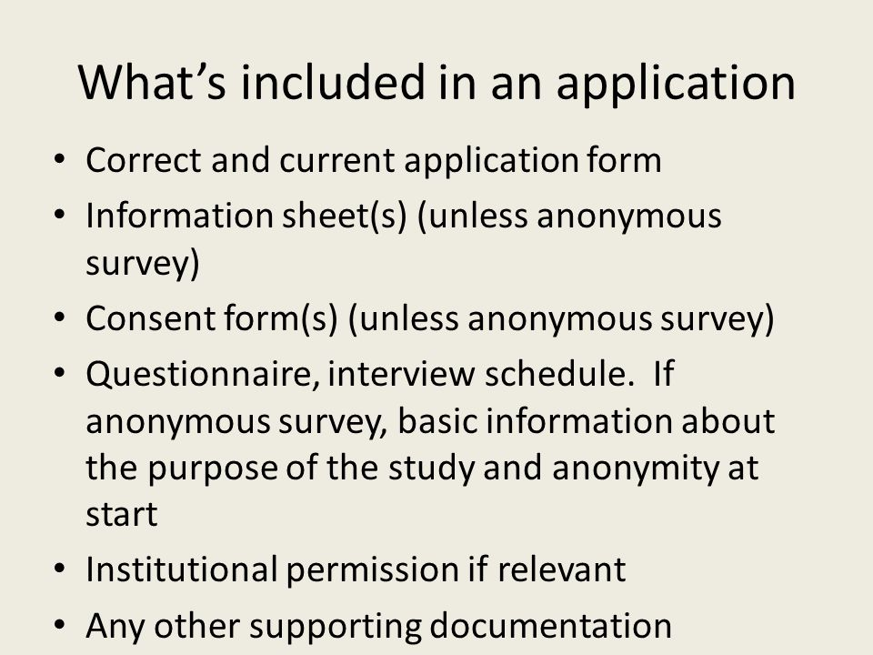 What's included in an application