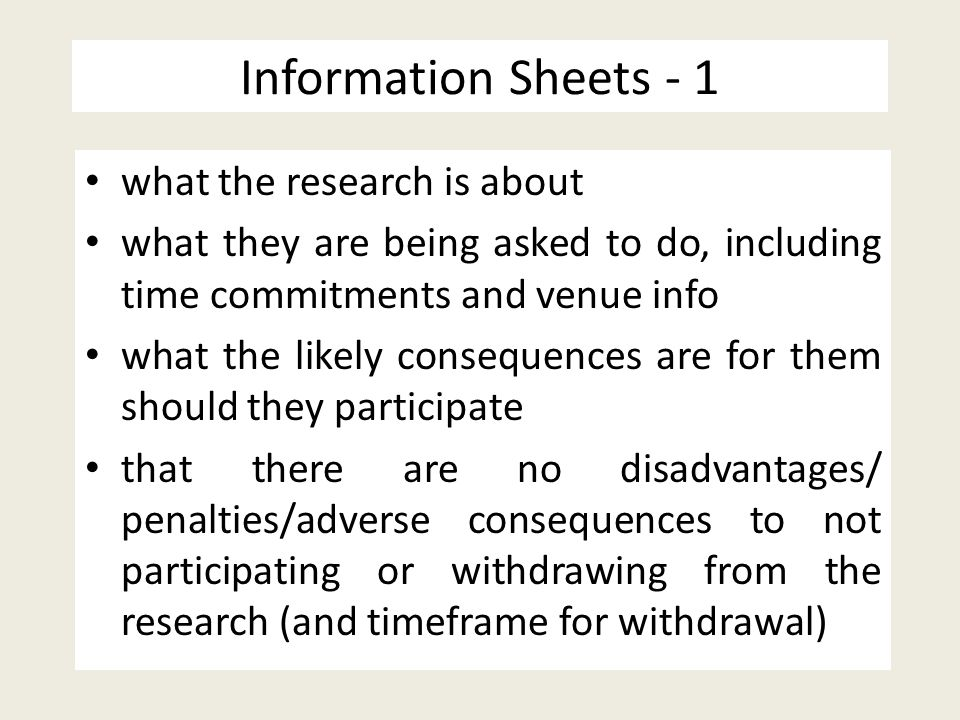 Information Sheets - 1 what the research is about