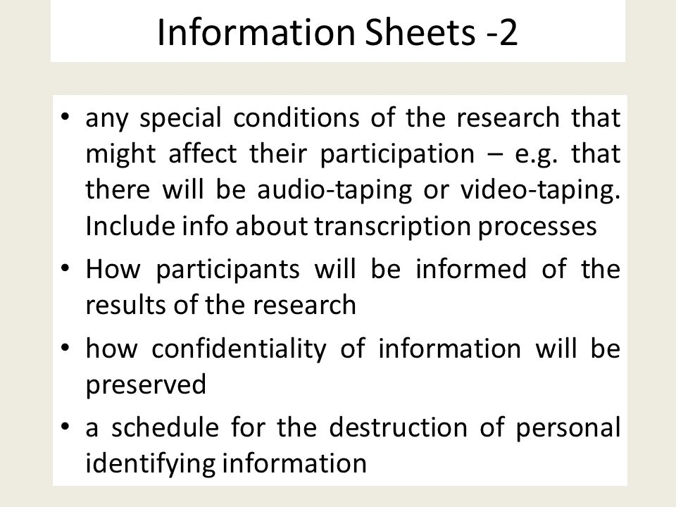 Information Sheets -2