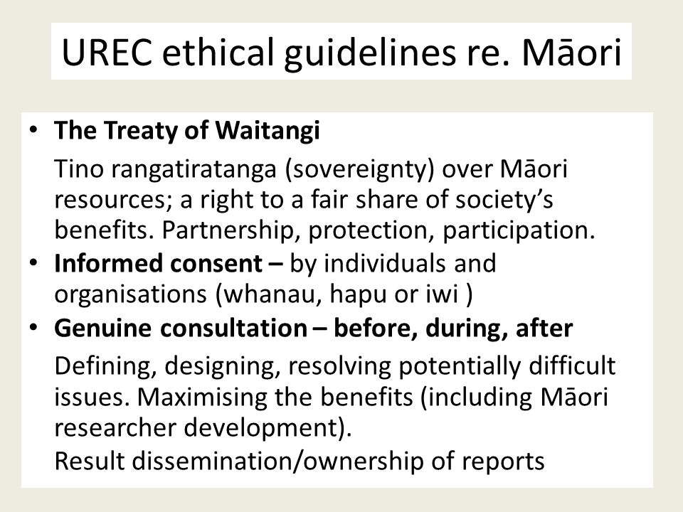 UREC ethical guidelines re. Māori