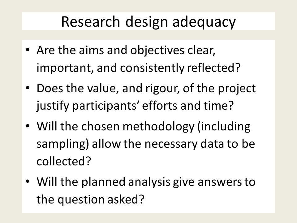 Research design adequacy