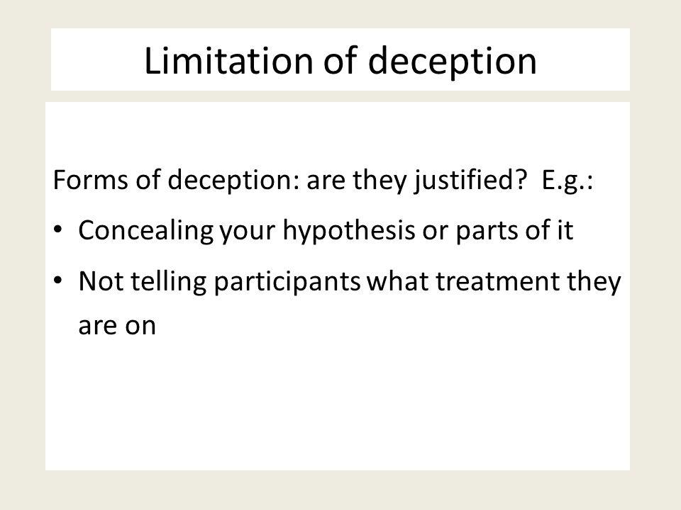 Limitation of deception