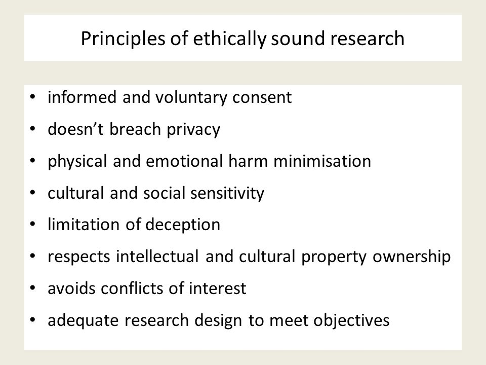 Principles of ethically sound research