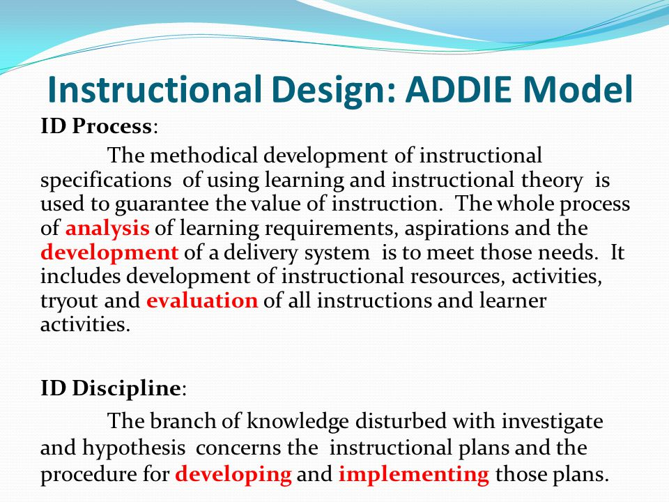 Instructional Design: ADDIE Model
