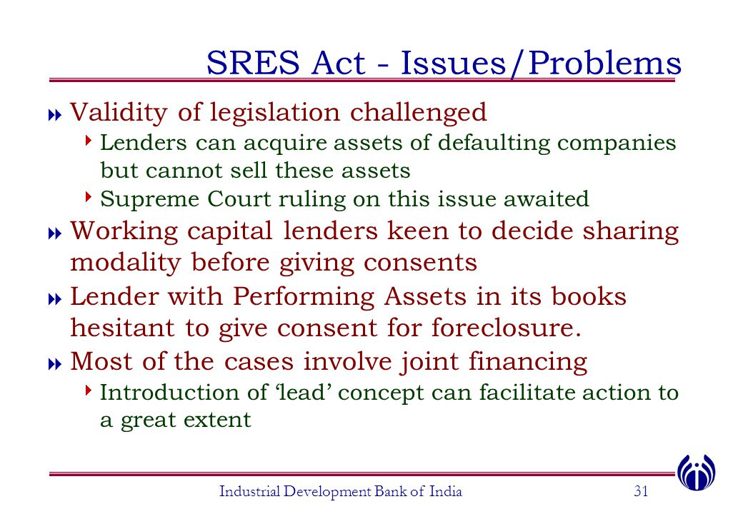 SRES Act - Issues/Problems