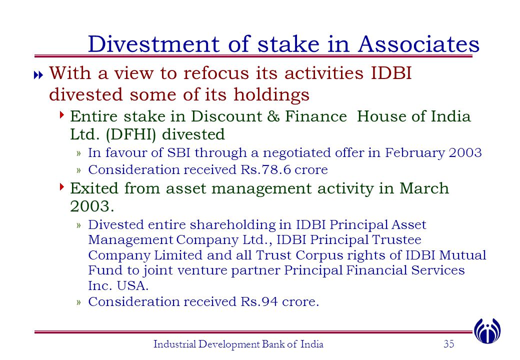 Divestment of stake in Associates