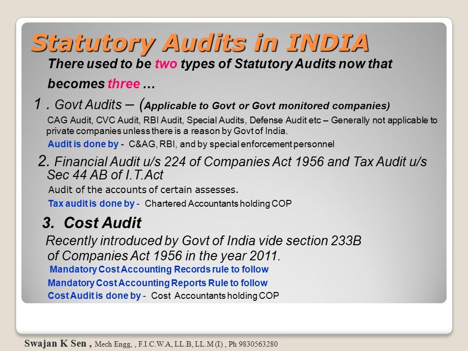 Statutory Audits in INDIA