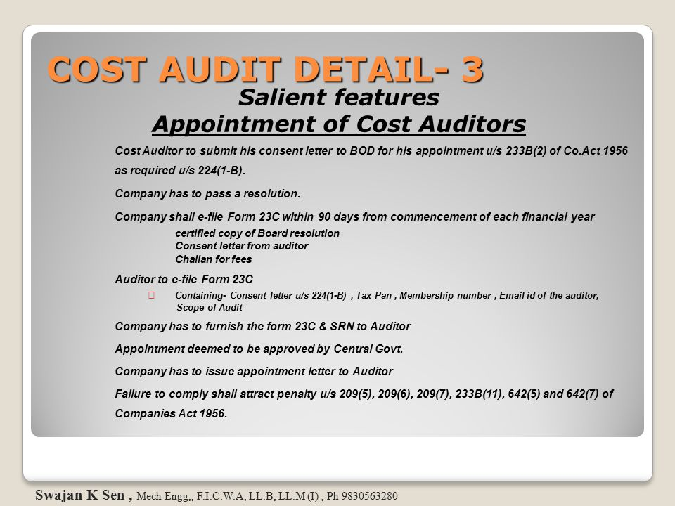 Appointment of Cost Auditors