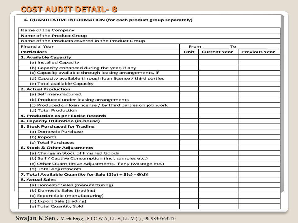 COST AUDIT DETAIL- 8 Swajan K Sen , Mech Engg,, F.I.C.W.A, LL.B, LL.M (I) , Ph 9830563280
