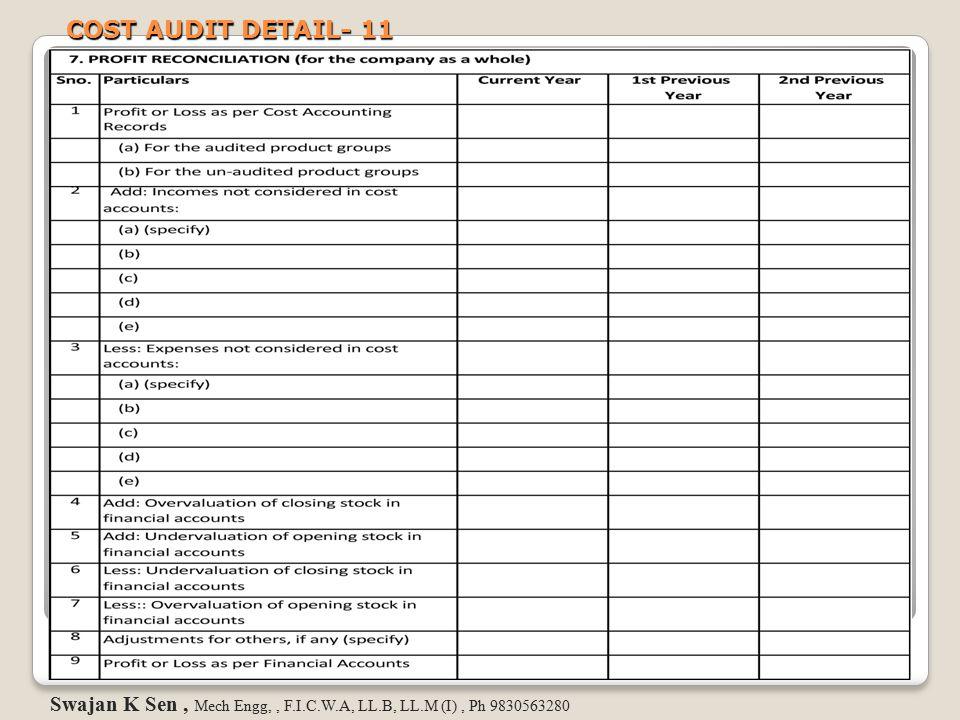 COST AUDIT DETAIL- 11 Swajan K Sen , Mech Engg, , F.I.C.W.A, LL.B, LL.M (I) , Ph 9830563280