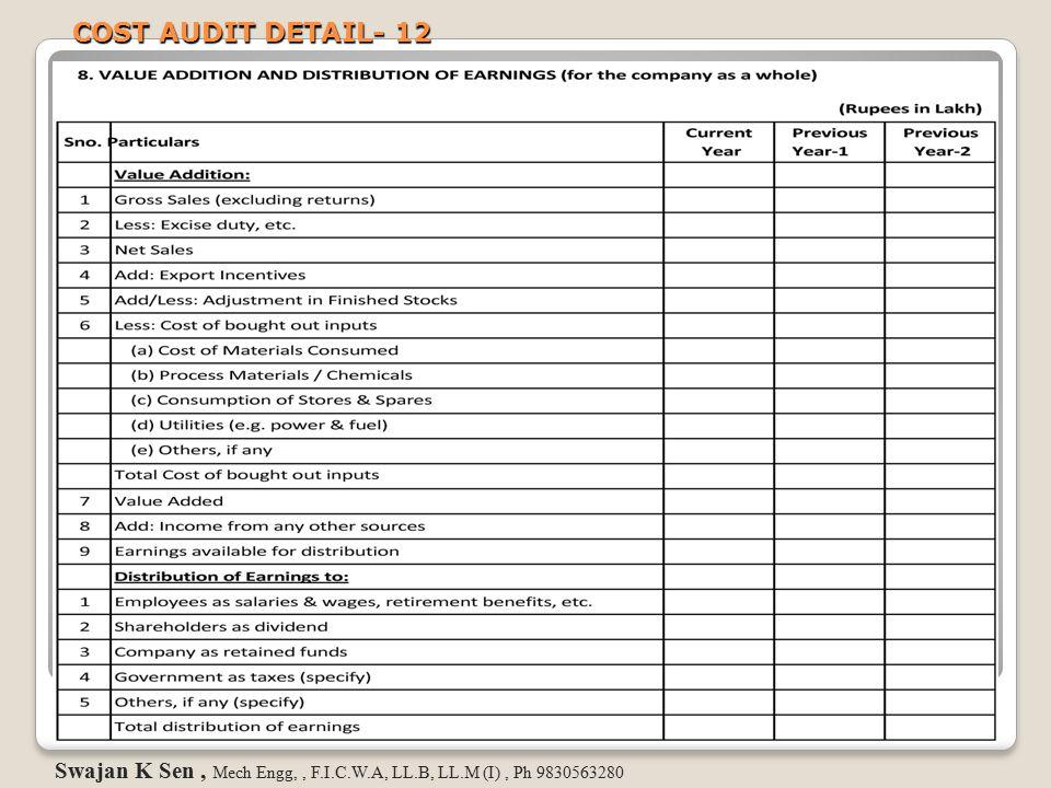 COST AUDIT DETAIL- 12 Swajan K Sen , Mech Engg, , F.I.C.W.A, LL.B, LL.M (I) , Ph 9830563280