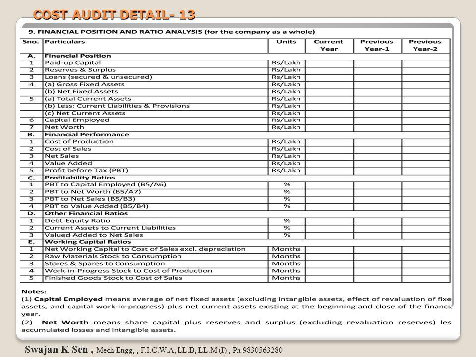 COST AUDIT DETAIL- 13 Swajan K Sen , Mech Engg, , F.I.C.W.A, LL.B, LL.M (I) , Ph 9830563280