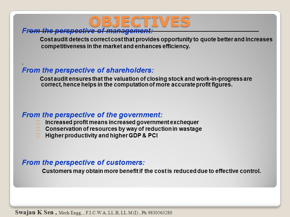 OBJECTIVES From the perspective of management: