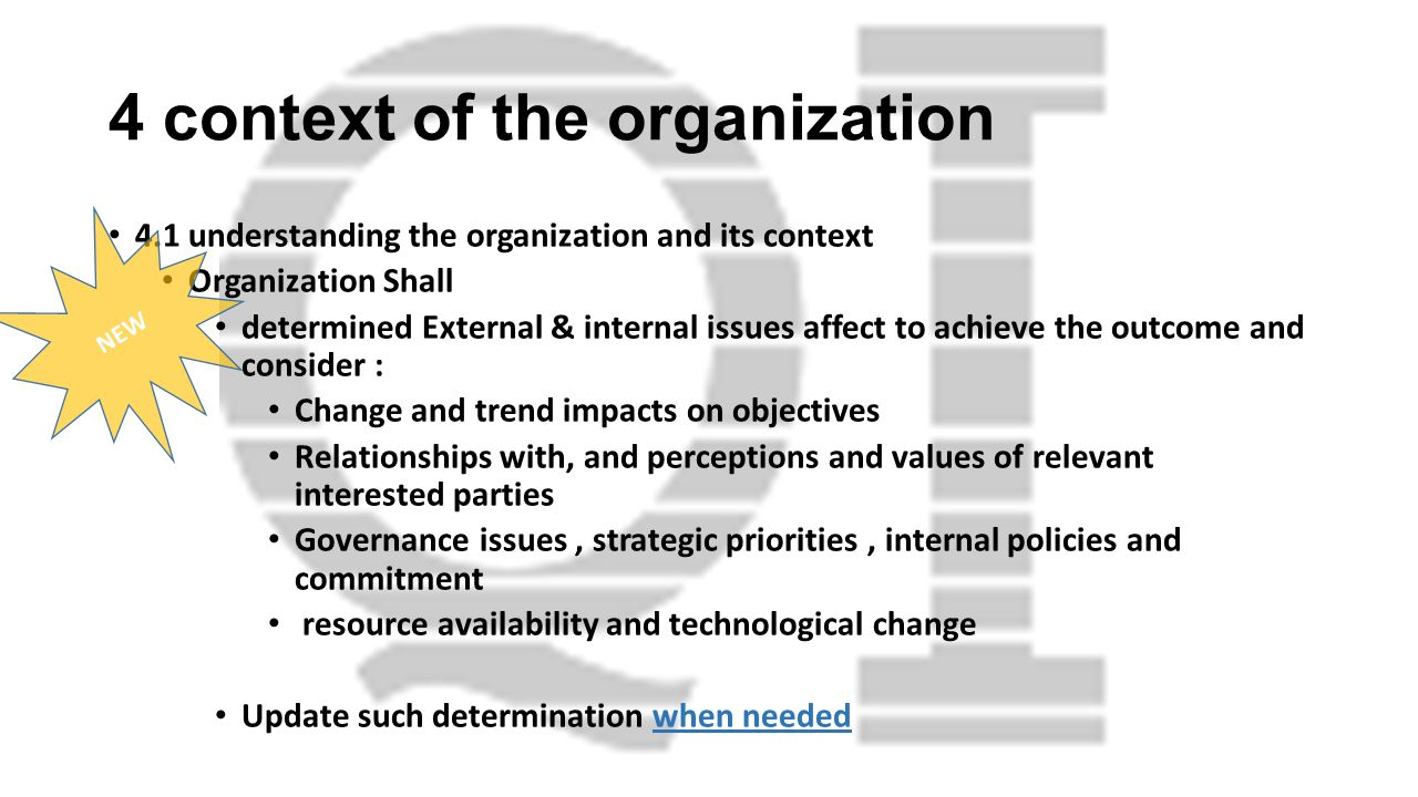 4 context of the organization