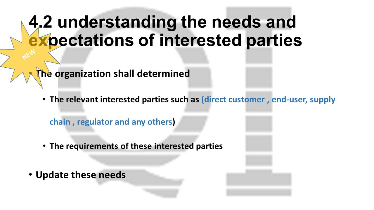 4.2 understanding the needs and expectations of interested parties