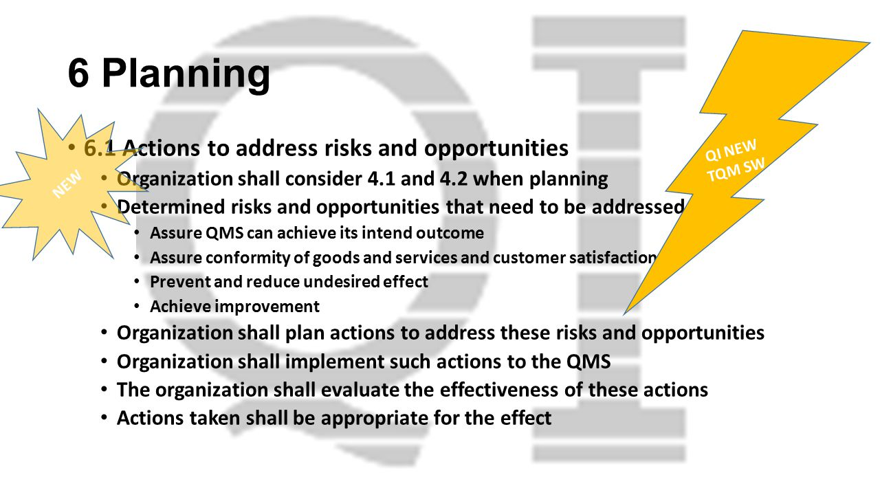 6 Planning 6.1 Actions to address risks and opportunities