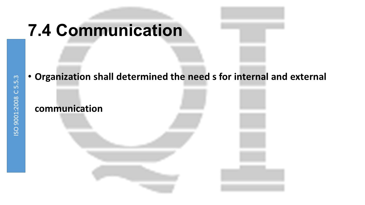 7.4 Communication Organization shall determined the need s for internal and external communication.