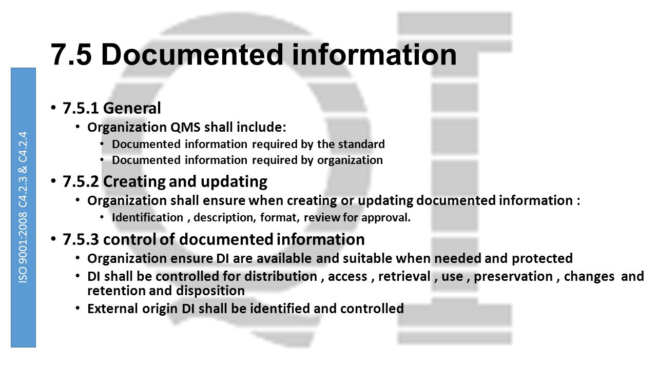 7.5 Documented information