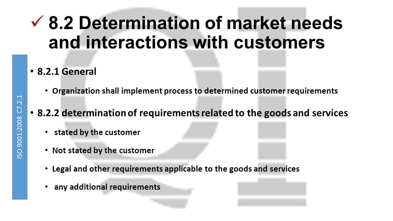 8.2 Determination of market needs and interactions with customers