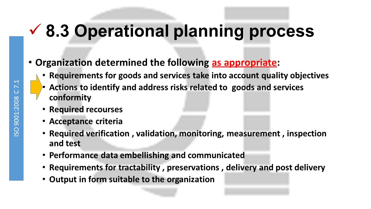 8.3 Operational planning process