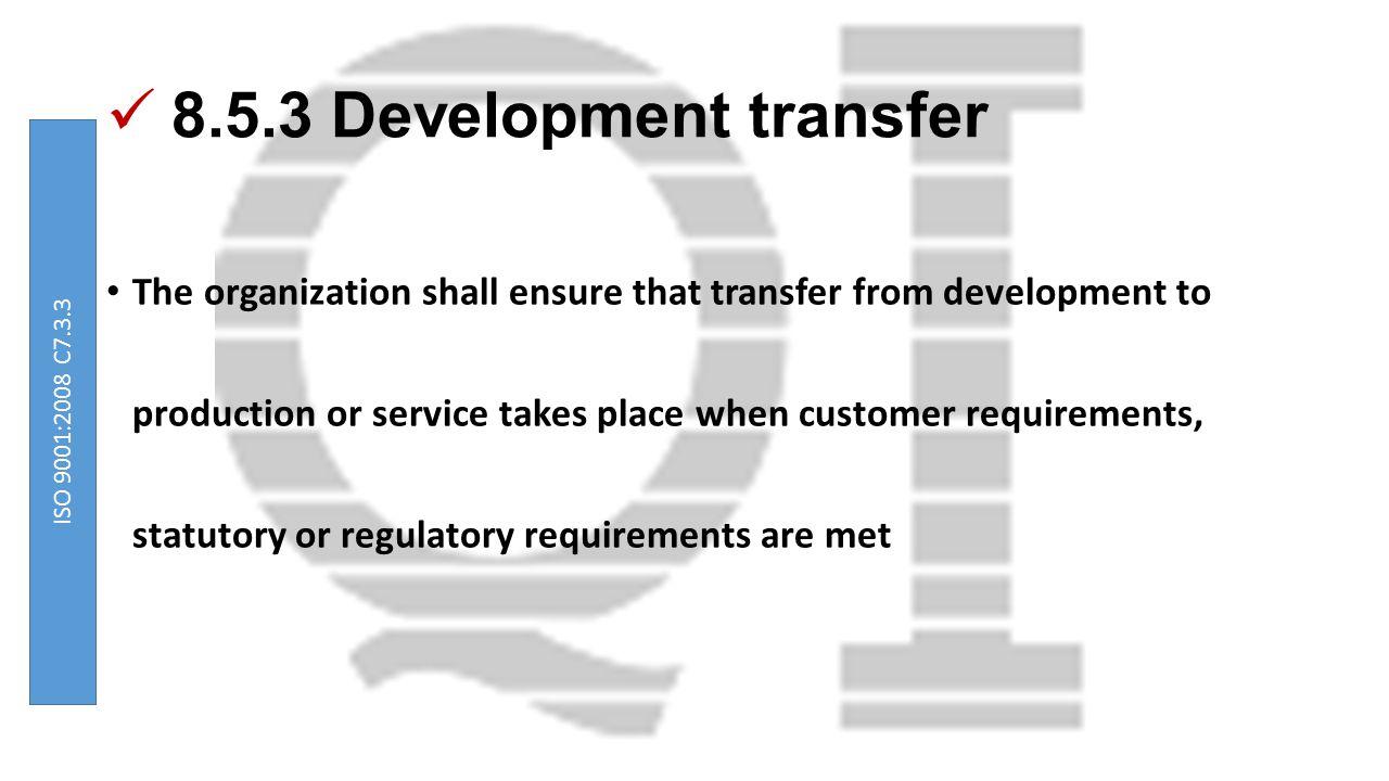 8.5.3 Development transfer