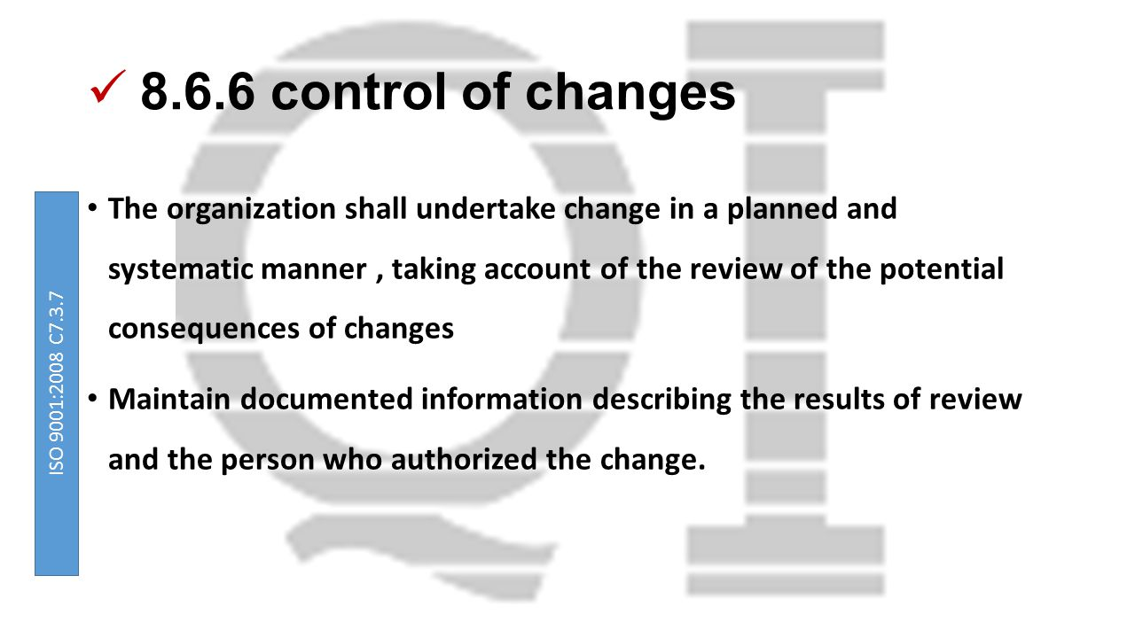8.6.6 control of changes