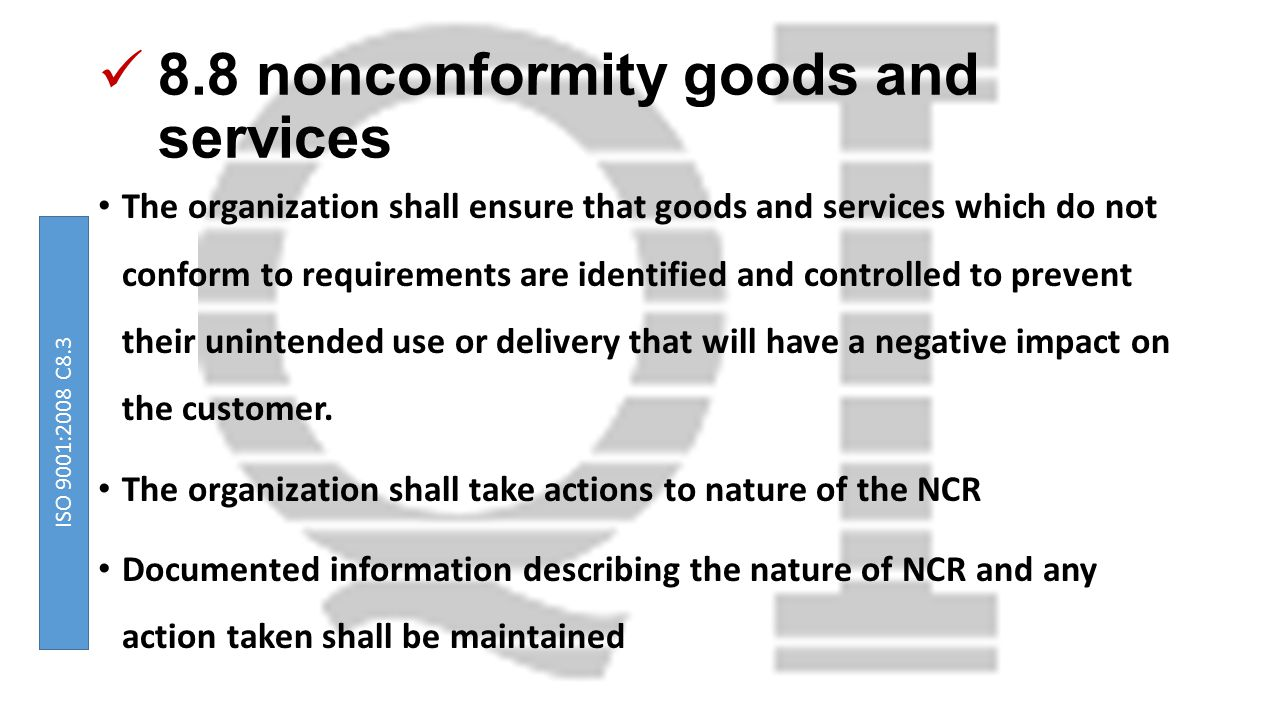 8.8 nonconformity goods and services