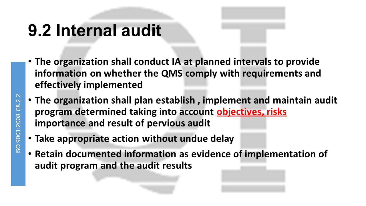 9.2 Internal audit