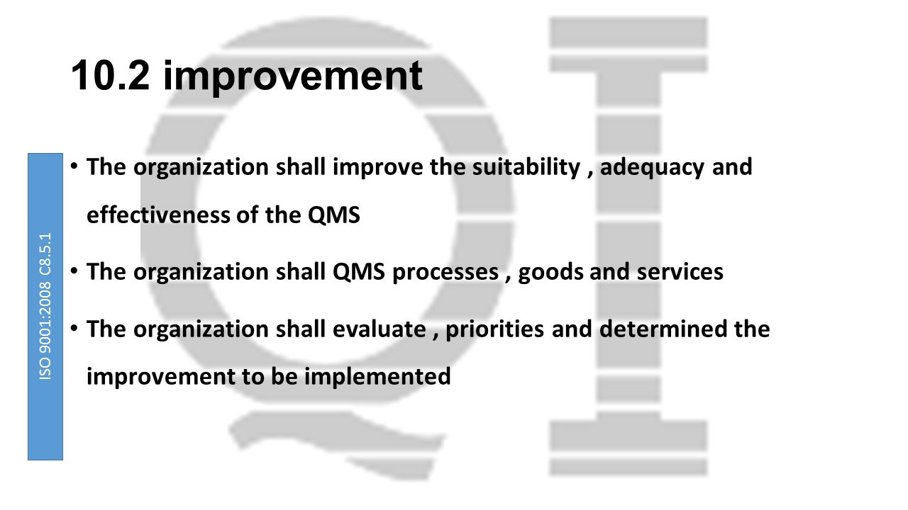 10.2 improvement The organization shall improve the suitability , adequacy and effectiveness of the QMS.