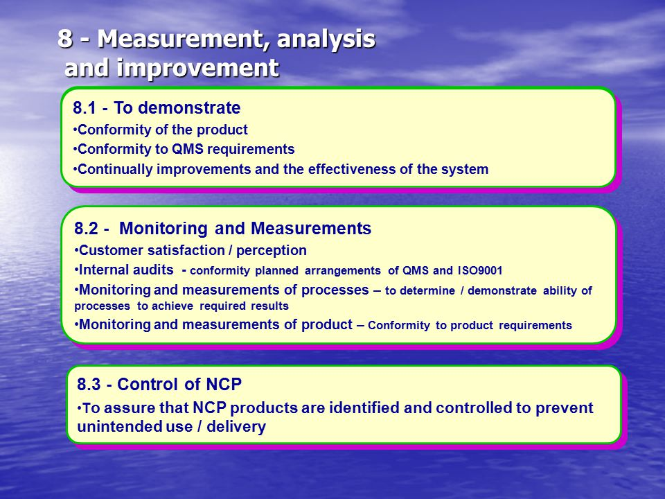8 - Measurement, analysis and improvement