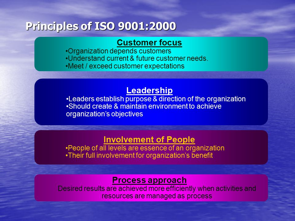 Principles of ISO 9001:2000 Customer focus Leadership