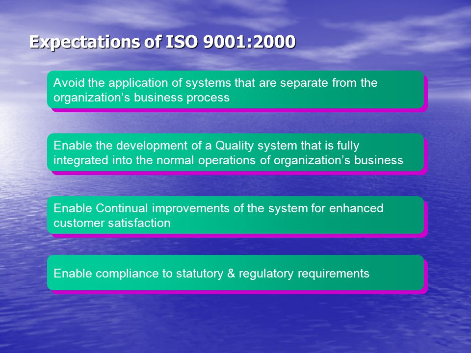 Expectations of ISO 9001:2000 Avoid the application of systems that are separate from the organization's business process.