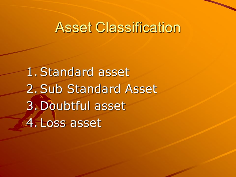 Asset Classification Standard asset Sub Standard Asset Doubtful asset