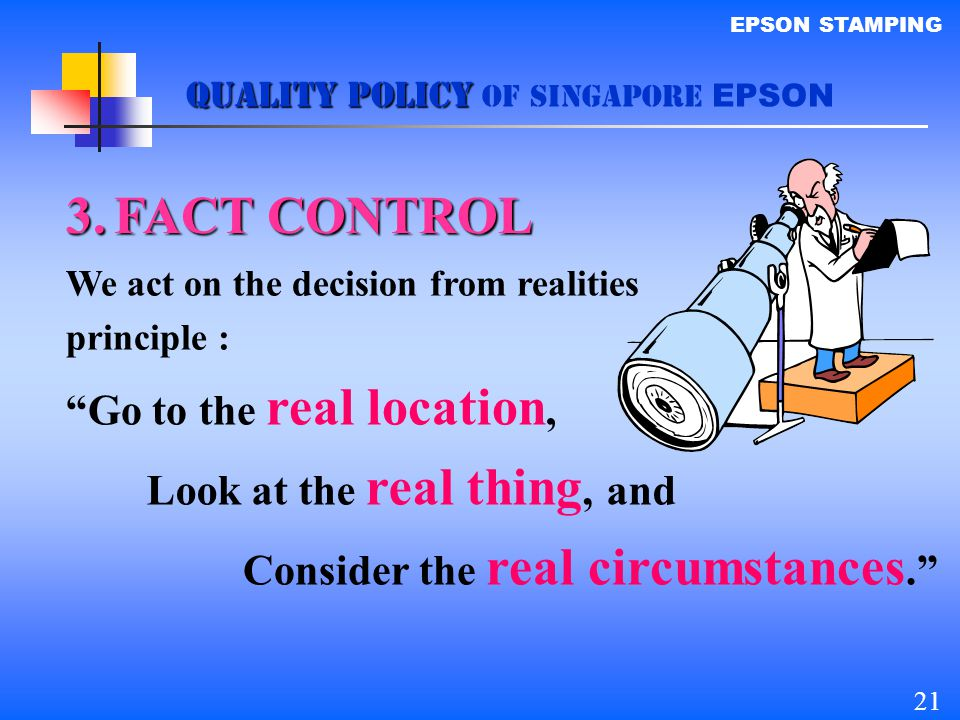 FACT CONTROL Go to the real location, Look at the real thing, and