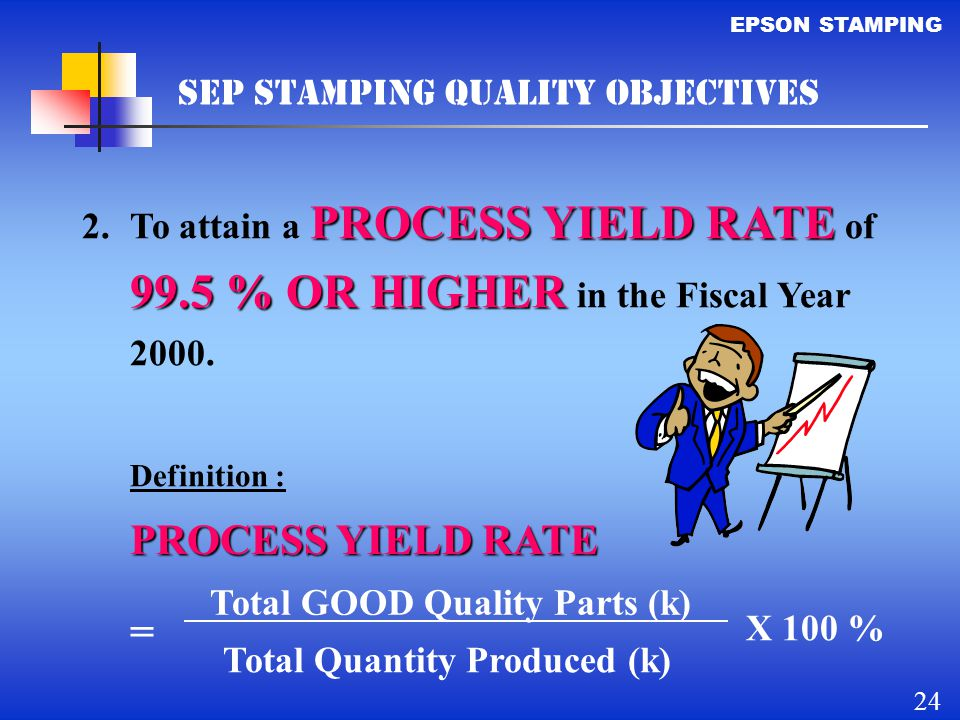PROCESS YIELD RATE = SEP STAMPING QUALITY OBJECTIVES