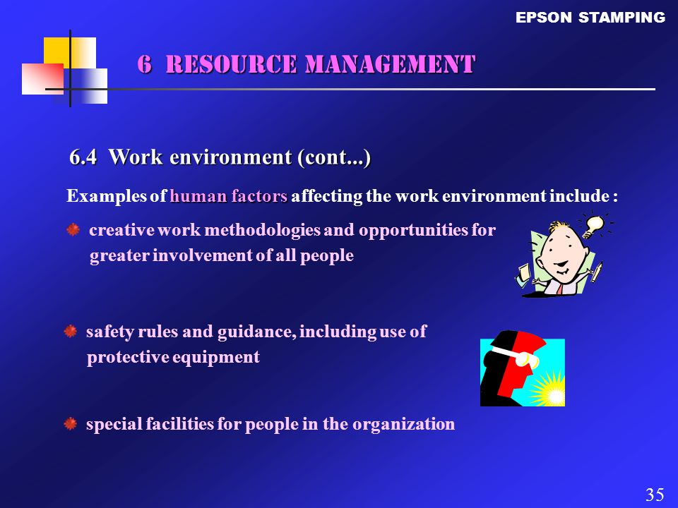 6 Resource Management 6.4 Work environment (cont...)