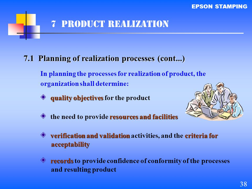 7 PRODUCT REALIZATION 7.1 Planning of realization processes (cont...)