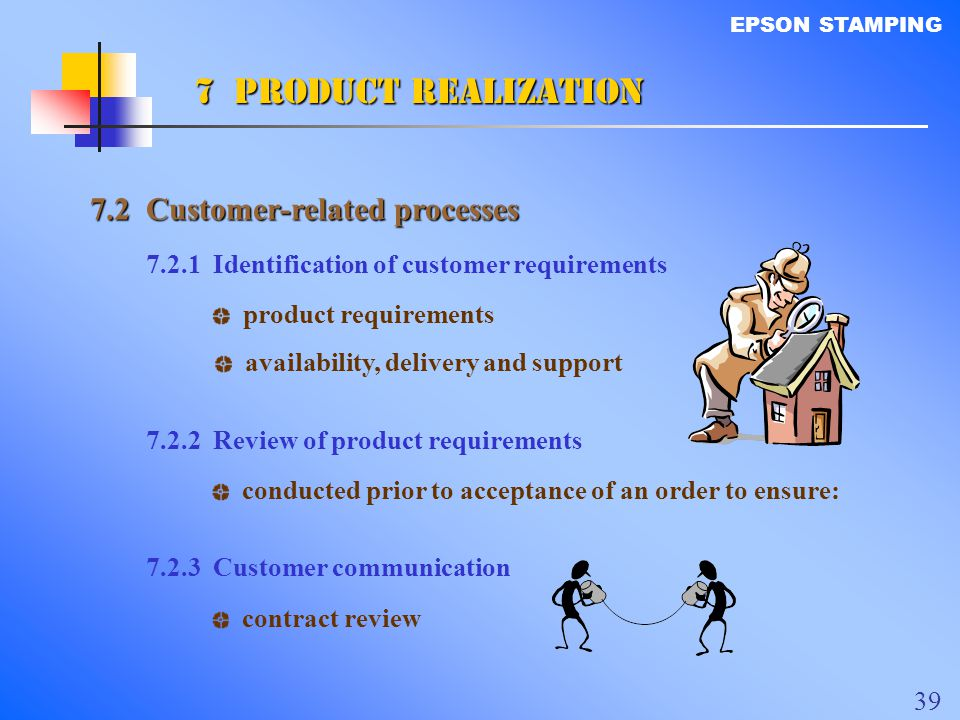 7 PRODUCT REALIZATION 7.2 Customer-related processes