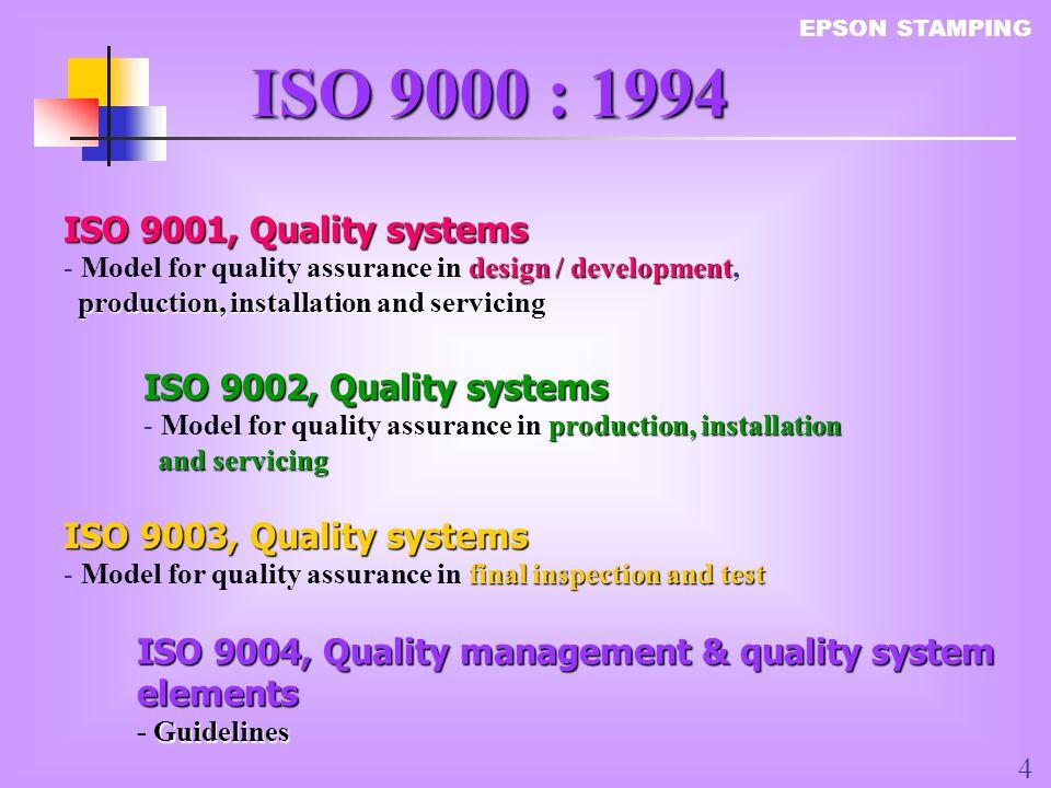 ISO 9000 : 1994 ISO 9001, Quality systems ISO 9002, Quality systems