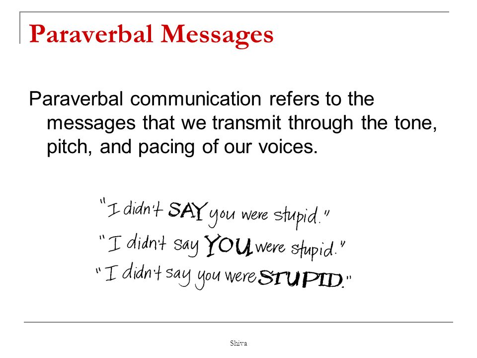 Paraverbal Messages Paraverbal communication refers to the messages that we transmit through the tone, pitch, and pacing of our voices.