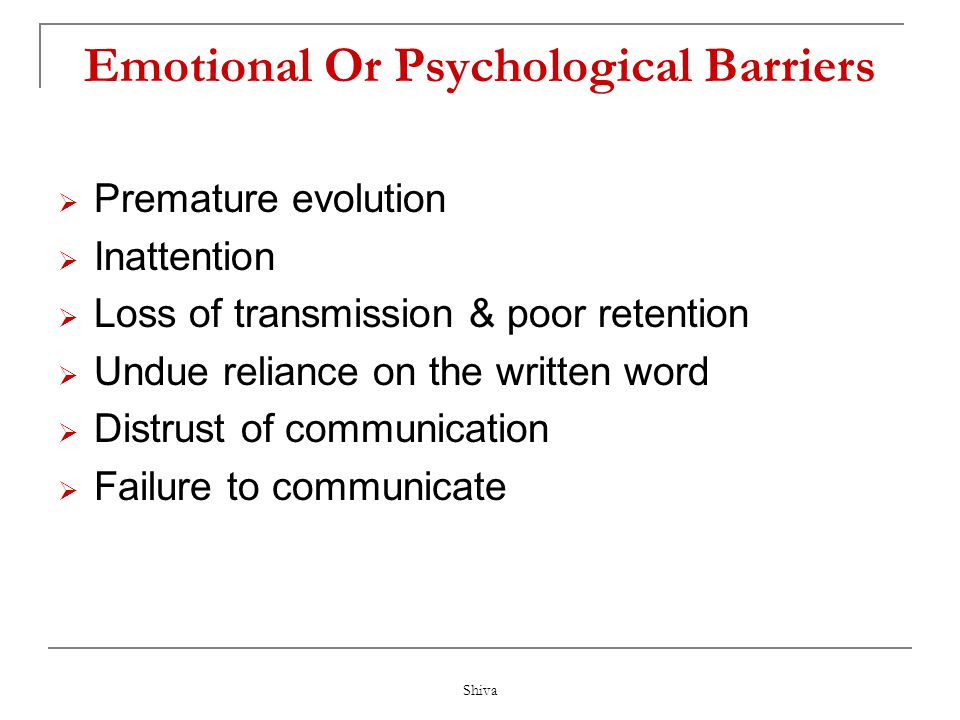 Emotional Or Psychological Barriers