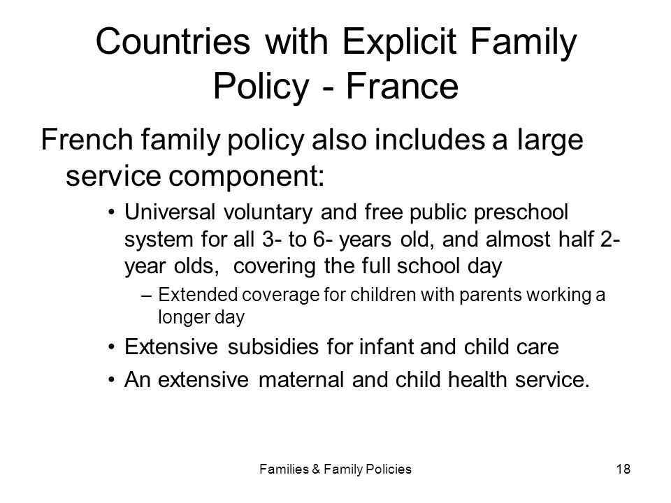 Countries with Explicit Family Policy - France