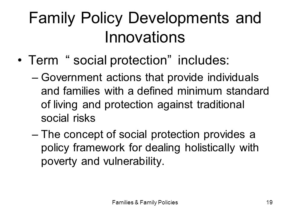 Family Policy Developments and Innovations