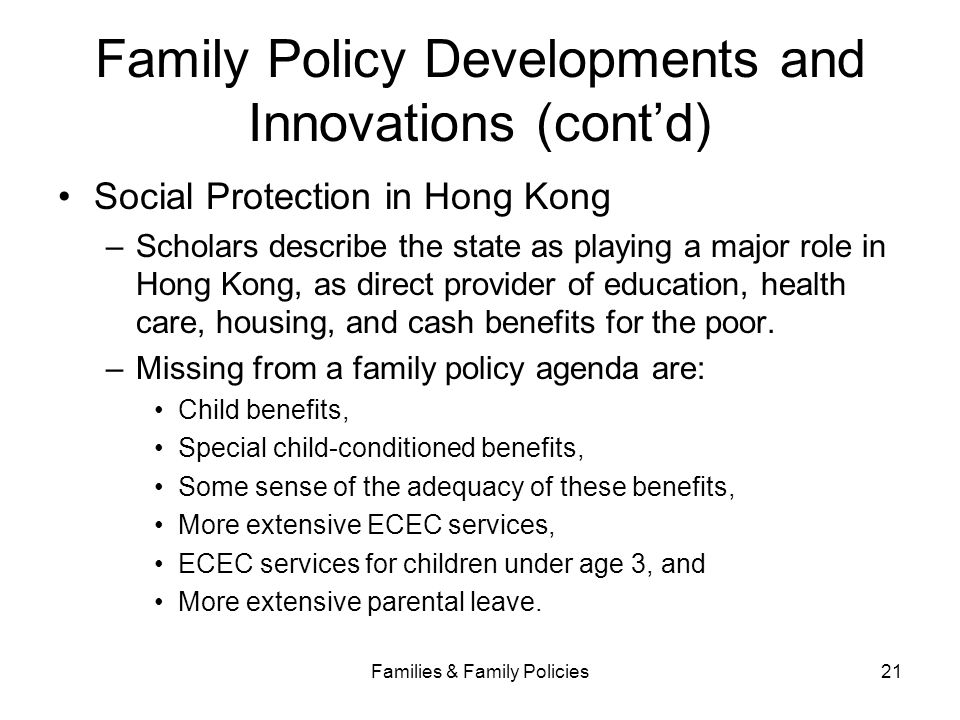 Family Policy Developments and Innovations (cont'd)