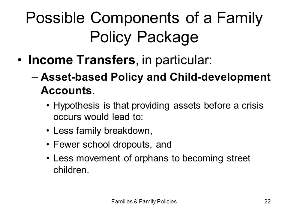 Possible Components of a Family Policy Package